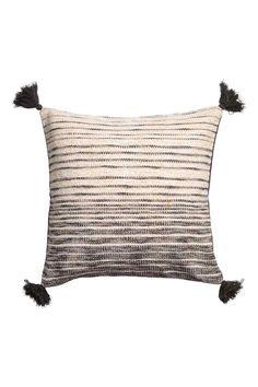 Funda de cojín con borlas - Gris antracita/Blanco - HOME | H&M ES 1