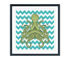 Octopus with Teal Chevron Cross Stitch Pattern Instant Download via Etsy