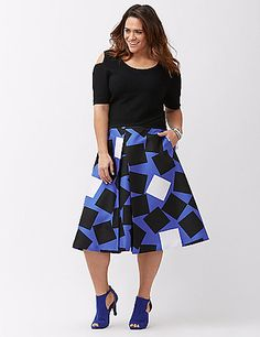 A kitschy print and kicky pleats put this polished A-line midi skirt on our must-have trend list. Exposed elastic waist, with back zipper closure. Tuck in a fitted top and take head-turning to a whole new level. lanebryant.com