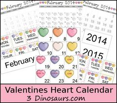 Free Valentines Heart Calendar Cards - Pattern Set, Regular Set and Single Page Calendar - 3Dinosaurs.com