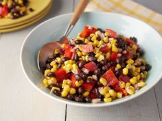 Black Bean and Corn Salad recipe from Rachael Ray - 1 can black beans, 2 cups froz. corn, 1 sm. diced red bell pepper, 1/2 chopped red onion, 1.5 tsp cumin, 2 tsp hot sauce, 1 lime juiced, 2 TB evoo, salt, pepper to taste.  I did 1/2 recipe w/ 5 green onions, several cherry tomatoes quartered, 3-4 oz. green chilies, 2 TB chopped cilantro & no red onion, bell pepper or hot sauce. Dog Food Recipes, Mexican Food Recipes, Food Network Recipes, Veggie Recipes, Vegetarian Recipes, Cooking Recipes, Cooking Food, Easy Cooking, Diet Recipes