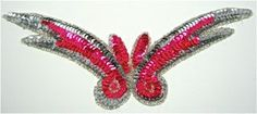 """Design Motif Fuchsia Sequins with Silver Beads 9"""" x 3"""""""