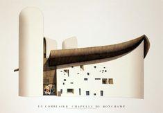 Chapelle de Ronchamp Art Poster Print by Le Corbusier , Sacred Architecture, Modern Architecture, Ronchamp Le Corbusier, Villa Savoye, Artwork Prints, Poster Prints, Chapelle, Game Design, Shelters