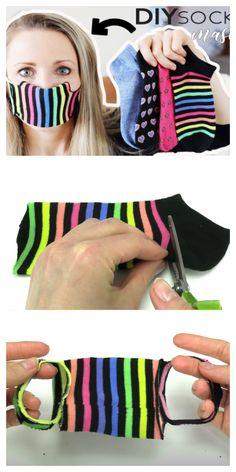 Easy No Sew Sock Face Mask DIY Tutorials + Video Easy Face Masks, Face Masks For Kids, Homemade Face Masks, Diy Face Mask, Costura Diy, Baby Shower Invitaciones, Art Diy, Art Crafts, Diy Artwork