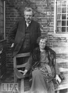 G.K. Chesterton and his beloved wife, Frances Chesterton (née Blogg)  ~ Chesterton married Frances Blogg in 1901; the marriage lasted the rest of his life.