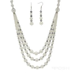 """The POSH """"Faydra"""" [Necklace Set]     - Fancy graduated pearl/silver-tone beaded necklace set  - Embellished w/sparkling silver-tone & lustre pearl  - Made with IP stainless steel  - Lobster clasp closure  - Size 4mm, 6mm, 8mm, 10mm, 12mm  - Length: 22 + 4""""inch extender    - Fishhook fancy dangle drop earring  - Embellished with sparkling stones & lustre pearl  - Made with IP stainless steel plating  - Fishhook H-2.50 x W-0.75    POSH by FERI - Passion for Fashion - Luxury fashion jewelry for…"""