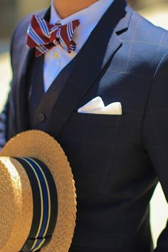 Vintage Straw Boater & Striped Bowtie & Windowpane Suit & Contrasting grey vest - Big fan of the boater hat and bow tie. Super classy!