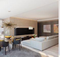 Salón Contemporáneo habitaciones Diseños de Fedorova14