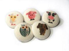 Fabric Buttons children kids Animal button Set by ReginaStitchery
