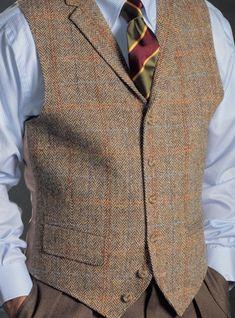 Brown and Tan Chevron Harris Tweed Waistcoat Harris Tweed Waistcoat, Waistcoat Men, Suit Fashion, Mens Fashion, Fall Fashion, Style Fashion, Chaleco Casual, Gilet Costume, Stylish Mens Outfits