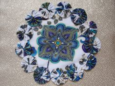 Peacock Flower in Shades of Blue Yo Yo Doily Penny by SursyShop, $8.00