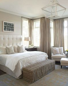 Linen drapery for big windows in #bedroom #barnandwillow.com check out our Belgian Linen drapery in flax.
