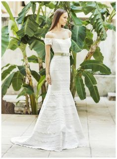 Wedding dress with off the shoulder neckline and belt at waist by Christos Costarellos from the 2015 Bridal Collection.