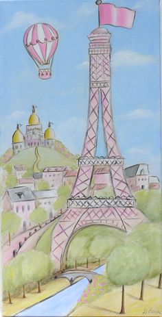Paris themed canvas paintings for girl's room or nursey. $199.00, via Etsy.