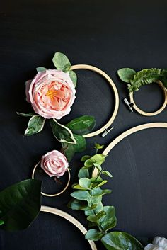 DIY wreaths with Flowers + Embroidery Hoops