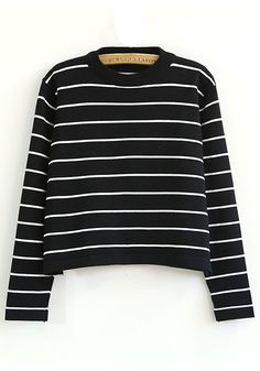 ++ black striped round neck long sleeve knit sweater