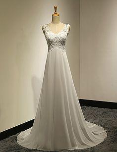 A-line Wedding Dress - White Sweep/Brush Train V-neck Chiffon/Lace – USD $ 89.99