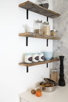 Marble hex tile and reclaimed wood shelves (marion house book)