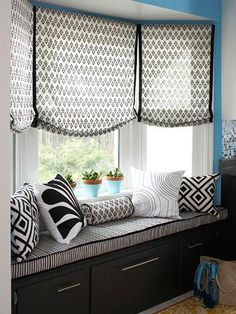 Love the curtain style!  This style in kitchen? Softer pattern...