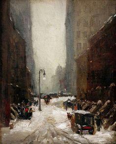 Snow in New York, 1902, Robert Henri. American Ashcan School Painter (1865 - 1929)