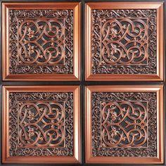 231 Tin Ceiling Tile - 3 Dimensional Fleur De Lis Pattern comes in copper… Covering Popcorn Ceiling, Faux Tin Ceiling Tiles, Copper Ceiling, Tin Tiles, Wall Tiles, Tile Steps, Color Tile, Antique Copper, Aged Copper