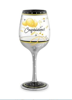 """""""Congratulations"""" Hand Painted Wine Glass - 16 Oz"""