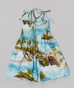 Look at this #zulilyfind! Blue Tropic Island Shoulder-Tie Shirred Dress - Toddler & Girls by RJC Girls #zulilyfinds