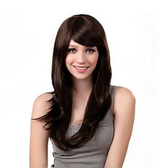 Capless Long Stright Brown peruca sintética Side bang – BRL R$ 74,52