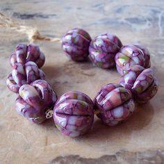 Handmade Lampwork Glass Beads  (2 pcs) - Violet Pink Grey Green Pumpkin 15 mm x 15-16 mm Hand Formed