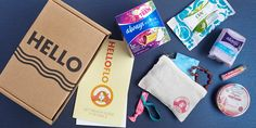 HelloFlo description: All your tampons and feminine supplies delivered right to your door in a discreet box. This is a great idea, I think I'll just make one though. Period Starter Kit, First Period Kits, Period Party, Self Help Skills, Cool Packaging, Girl Guides, Family Traditions, Subscription Boxes, Kids Education