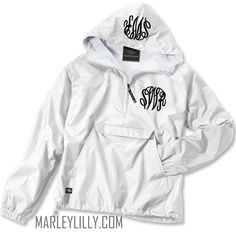 Monogrammed White Pullover Rain Jacket! Size L Would love green EHS or Easley monogram! I actually love all the colors (except not black or light blue). Crazy for Anoraks!!