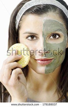 clay mask for beauty treatment - stock photo