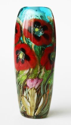 RED POPPY Garden Focal BEAD by lunacyglass on Etsy