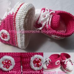 Free Crochet baby Chucks Pattern. In Portuguese, but there is a translation at the bottom. Step by step tutorial!