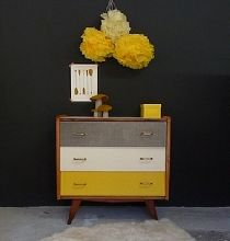 Color blocked dresser.