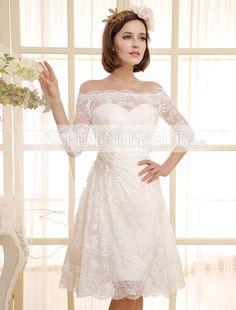 Hochzeitskleid mit Spitze am Rücken kurz standesamtkleider mit Boot Kragen und rückenfrei [#UD9193] - schoenebraut.com