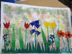 Kelmupohjalle väripaperista leikattu ja liimattu keväinen kukkaniitty....Ohje: Kostutetulle akvarellipaperille laitetaan vesiväri/peiteväriläiskiä sinne tänne, talouskelmua päälle ja hierotaan vähän pintaa, että värit sekoittuvat, annetaan kelmun olla jonkin aikaa siinä päällä ja lopuksi poistetaan kelmu. Simppeliä! (Marja Wargh / Alakoulun aarreaitta) Spring Art, Spring Crafts, Spring Time, Plant Science, Teaching Art, Flower Crafts, Art For Kids, Collage, Flowers