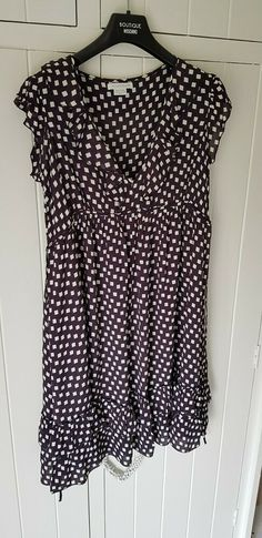 Mamas And Papas Maternity Dress Size 10 Black White And Red Stripes,