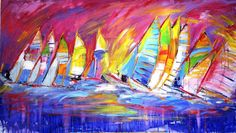 Multi-colour Catamarans high speed racing across a violet blue sea and magenta sky