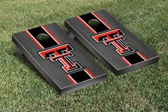 Texas Tech Red Raiders Cornhole Game Set Onyx Stained Stripe Version