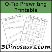 Prewriting Q-Tip Printables. Also a great collection of fine motor tracing… Name Writing, Writing Practice, Kindergarten Handwriting, Fine Motor, Gross Motor, Play To Learn, Literacy Activities, Early Learning, Lettering