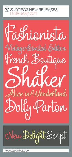 Delight Script Font: Delight Script is a fresh and original Angel Koziupa design that takes its cue from post-WWII advertising scripts. Fancy Fonts, Cool Fonts, New Fonts, Awesome Fonts, Pretty Fonts, Beautiful Fonts, Silhouette Fonts, Silhouette Cameo, Silhouette Machine