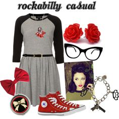 """""""get the look - rockabilly casual"""" by onceuponanovel on Polyvore"""