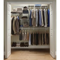 Shelftrack 5 Ft. - 8 Ft. Closet Organizer Kit With Shoe Shelf