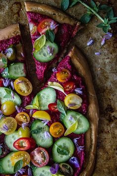 Greek Salad Pizza with Beet Hummus- Gluten free and Vegan