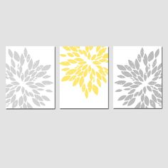Modern Abstract Painterly Floral - Set of Three Large Scale 8x10 Floral Art Prints - Choose Your Colors - Shown in Pale Yellow, Gray. $55.00, via Etsy.