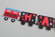 Cute train birthday banner