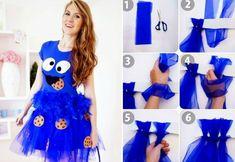 fasching kostüme krümelmonster-blau-tutu-cookies-diy