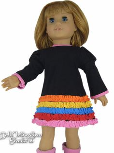 BARGAIN!! Black Knit DRESS w/ Colorful Ruffles for American Girl Doll Clothes #Generic