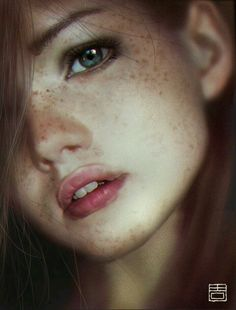 Qiang Zhou (source photo by Marta Syrko), photo illustration {figurative art beautiful female head young woman face portrait digital painting
